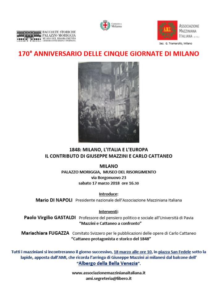 170� anniversario delle Cinque Giornate di Milano