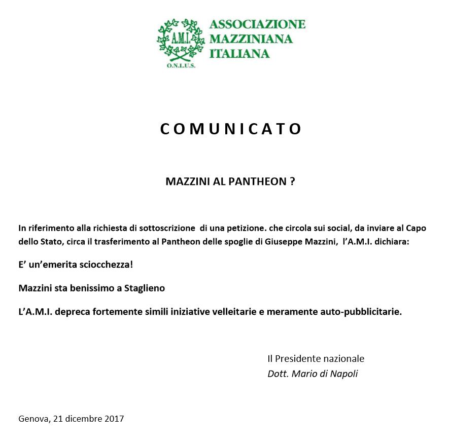 Mazzini e la raccolta firme per il PANTHEON